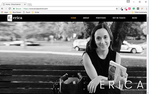 Erica Averion Website Built by Blue Mosaic Marketing Solutions